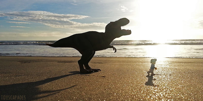 bill-dollar-is-chased-by-a-trex-along-the-beach